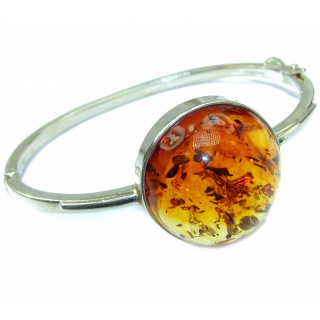 Pure Perfection Design Genuine Baltic Amber .925 Sterling Silver handmade Bracelet