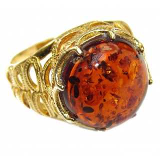 Excellent Authentic Baltic Amber Rose Gold over .925 Sterling Silver Ring s. 8