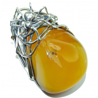 Huge Spider Natural Baltic Butterscotch Amber .925 Sterling Silver brilliantly handmade Pendant