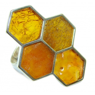 Honey Comb Authentic Baltic Amber .925 Sterling Silver handcrafted ring; s 7 adjustable
