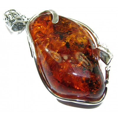 Lonely Rose Natural Baltic Amber .925 Sterling Silver handmade Pendant
