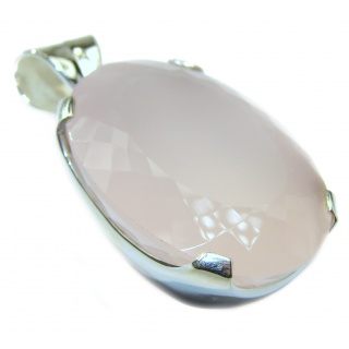 Large Oval cut 112ct Rose Quartz .925 Sterling Silver handcrafted Pendant