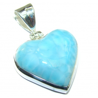 Angel's Heart amazing quality Larimar .925 Sterling Silver handmade pendant