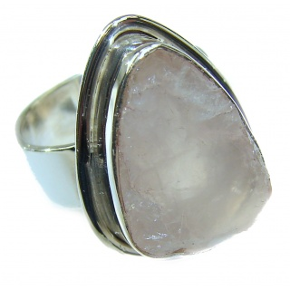 Huge Simple Design genuine Rough Rose Quartz Sterling Silver handmade ring size 8