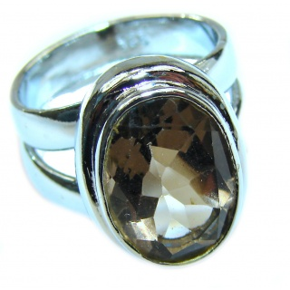 Authentic Smoky Topaz .925 Sterling Silver handcrafted ring; s 5 1/4