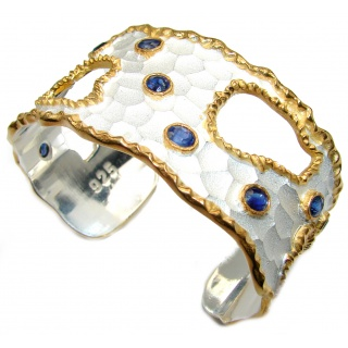 Bracelet with Blue Sapphires & Diamonds 24K gold and Silver in Antique White Patina