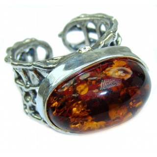 Excellent quality Authentic Baltic Amber Sterling Silver Ring s. 8 adjustable