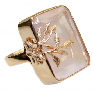 Authentic Baguette cut Rose Quartz 18K Gold over .925 Sterling Silver handcrafted ring s. 7 1/4 adjustable