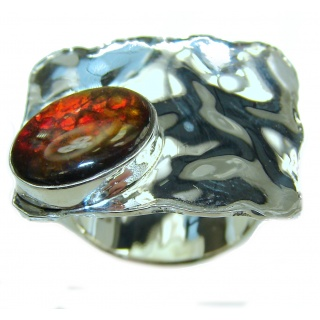 Unisex Rainbow Fire Ammolite hammered .925 Sterling Silver ring s. 4 1/4