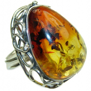 MASSIVE Genuine Butterscotch Baltic Polish Amber .925 Sterling Silver handmade Ring size 7 adjustable