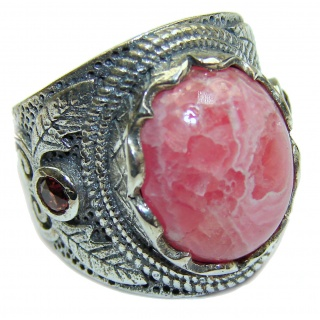 Argentinian Rhodochrosite 18K Gold over .925 Sterling Silver handmade ring size 7