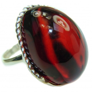 HUGE Excellent quality Cherry Authentic Baltic Amber Sterling Silver Ring s. 8 adjustable