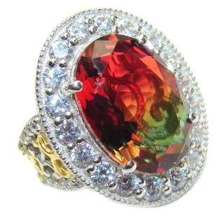 HUGE Watermelon Tourmaline color Topaz 18K Gold over .925 Sterling Silver handcrafted Ring s. 6 3/4