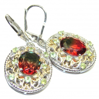 Watermelon Tourmaline 18K Gold over .925 Sterling Silver entirely handmade earrings