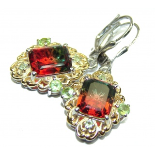 Tourmaline 18K Gold over .925 Sterling Silver entirely handmade earrings