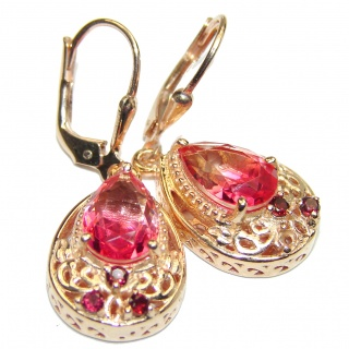 Pink Topaz 18K Gold over .925 Sterling Silver entirely handmade earrings