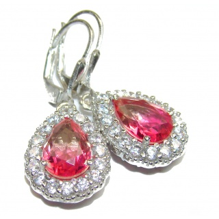 Pink Tourmaline .925 Sterling Silver entirely handmade earrings
