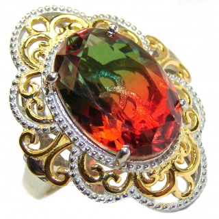 HUGE Top Quality Magic Volcanic Pink Tourmaline Topaz 18K Gold over .925 Sterling Silver handcrafted Ring s. 8 1/4