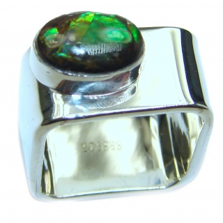 Pure Energy Fire Genuine Canadian Ammolite .925 Sterling Silver handmade ring size 6
