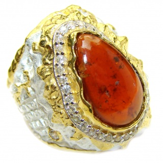 Large genuine Garnet 14K Gold over .925 Sterling Silver Statement Italy made ring; s. 8