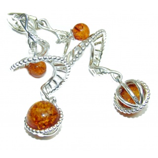 Big! authentic Baltic Amber .925 Sterling Silver handmade Earrings