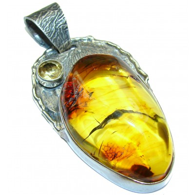 Huge Natural Baltic Amber oxidized .925 Sterling Silver handmade Pendant