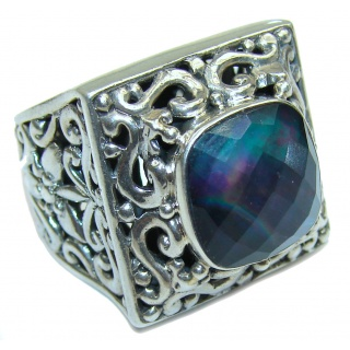 Dark Night Mother of Pearl .925 Sterling Silver hamdamde Ring s. 7