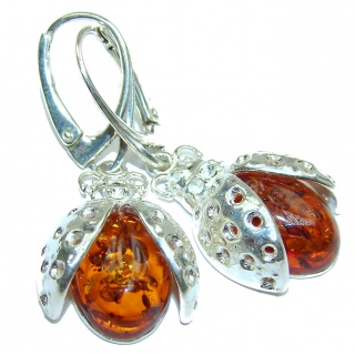 Baltic Ladybug Amber .925 Sterling Silver Earrings