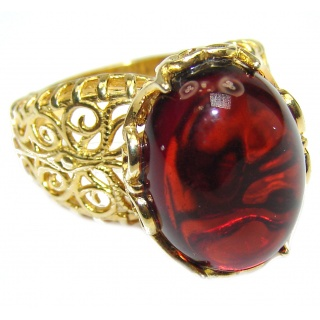 Genuine Cherry Baltic Polish Amber 18kGold .925 Sterling Silver handmade Ring size 6
