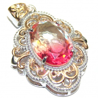 Deluxe Oval cut Pink Topaz 18K Gold over .925 Sterling Silver handmade Pendant