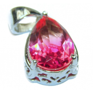 Deluxe Pear cut pink Topaz .925 Sterling Silver handmade Pendant