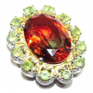 Deluxe Oval cut Tourmaline color Topaz 18K Gold over .925 Sterling Silver handmade Pendant