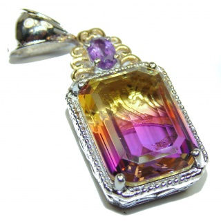 Deluxe emerald cut Ametrine 18 ct Gold over .925 Sterling Silver handmade Pendant