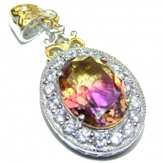 Deluxe Oval cut Ametrine 18K Gold over .925 Sterling Silver handmade Pendant