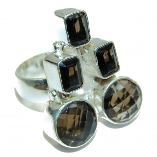 Huge! Rough Smoky Topaz, Two Tones Sterling Silver ring s. 8