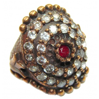 Large Victorian Style created Ruby & White Topaz Sterling Silver ring; s. 6 1/4