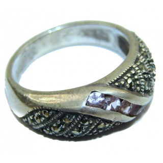 Fancy Marcasite .925 Sterling Silver Cocktail ring s. 8