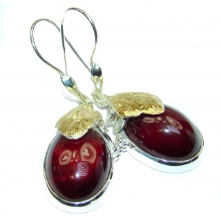 Back to Nature Authentic 65ct Garnet 18K Gold over .925 Sterling Silver handmade earrings