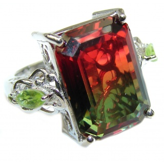 HUGE emerald cut Volcanic Tourmaline Topaz .925 Sterling Silver handcrafted Ring s. 7 1/2