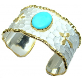 Bracelet with Sleeping Beauty Turquoise and Diamonds 24K Gold .925 Sterling Silver in Antique White Patina