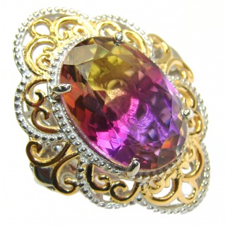 HUGE Oval cut Ametrine 18K Gold over .925 Sterling Silver handcrafted Ring s. 8 1/4