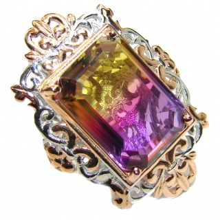 HUGE Emerald cut Ametrine 18K Gold over .925 Sterling Silver handcrafted Ring s. 6 1/4
