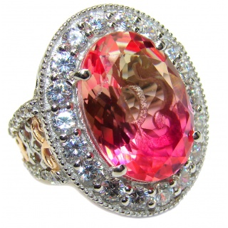 Huge Top Quality Volcanic Pink Tourmaline 18K Gold over .925 Sterling Silver handcrafted Ring s. 7 1/2