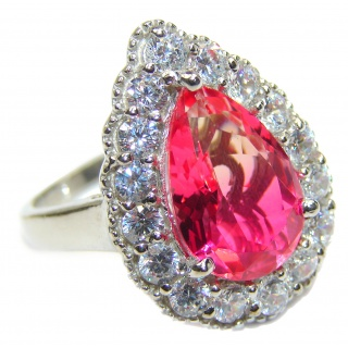 HUGE Pear cut Pink Topaz .925 Sterling Silver handcrafted Ring s. 9 1/4