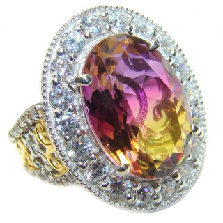 Huge Top Quality Ametrine 18K Gold over .925 Sterling Silver handcrafted Ring s. 8 1/4