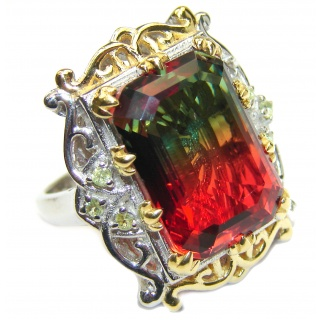 HUGE Emerald cut Watermelon Tourmaline color Topaz 18k Gold over .925 Sterling Silver handcrafted Ring s. 7 1/4