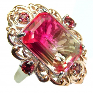 Huge Top Quality Volcanic Pink Tourmaline 18 K Gold over .925 Sterling Silver handcrafted Ring s. 9 3/4