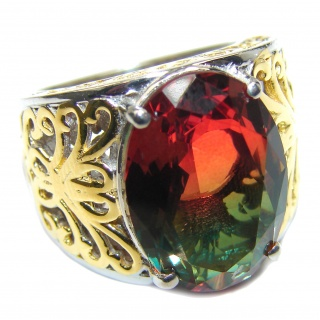 HUGE oval cut Tourmaline 18K Gold over .925 Sterling Silver handcrafted Ring s. 8