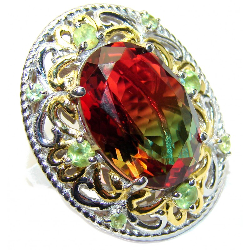 HUGE Watermelon Tourmaline color Topaz 18K Gold over .925 Sterling Silver handcrafted Ring s. 6