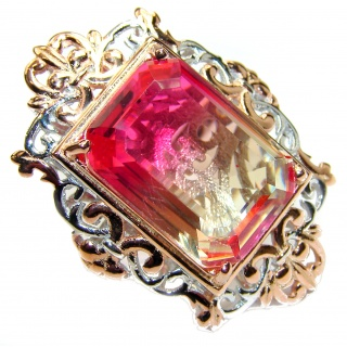 Huge Top Quality Volcanic Pink Tourmaline color Topaz .925 Sterling Silver handcrafted Ring s. 7 1/4
